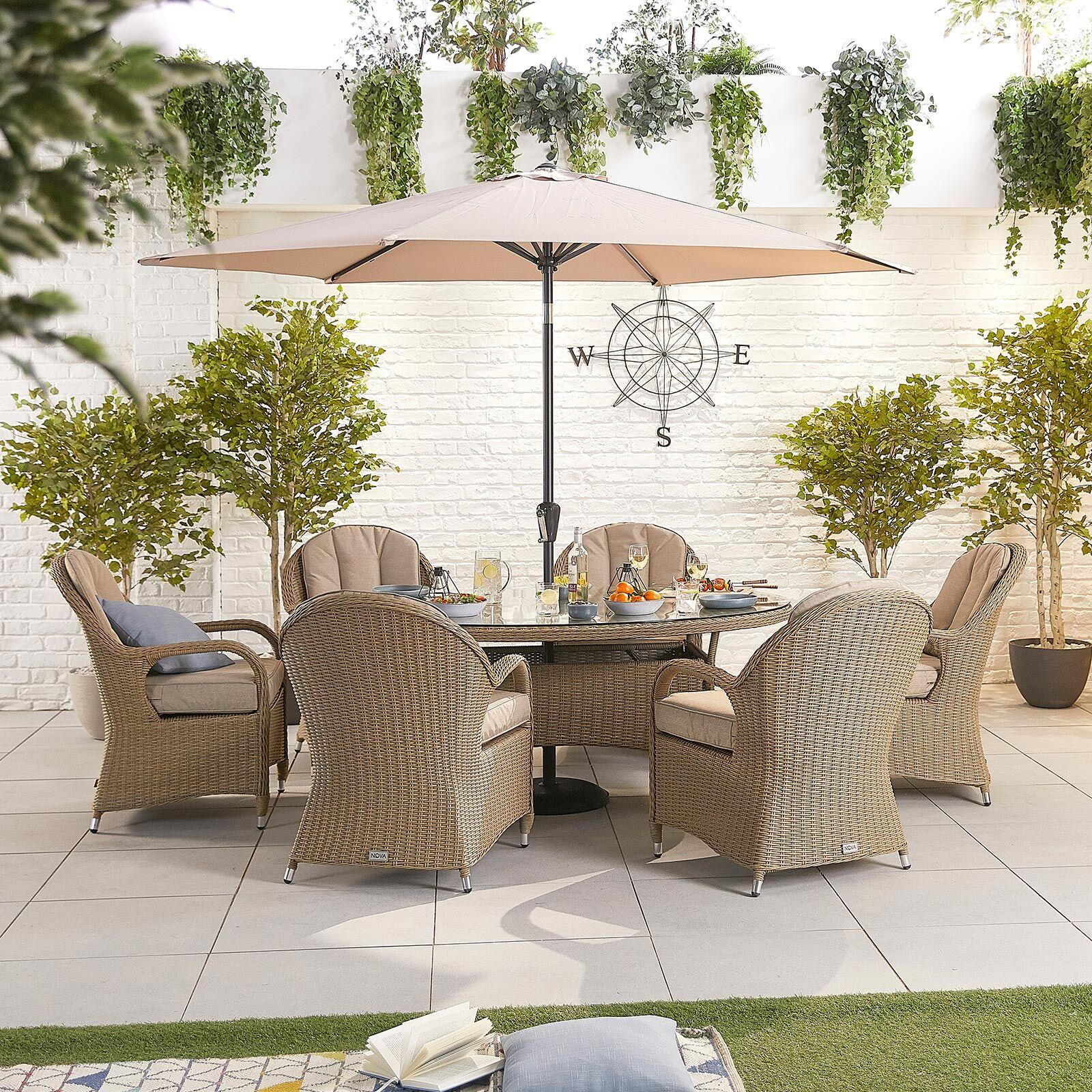 Oakworld Alfresco Heritage Leeanna 6 Seat Dining Set   1.8m x 1.2m Oval Table   Willow