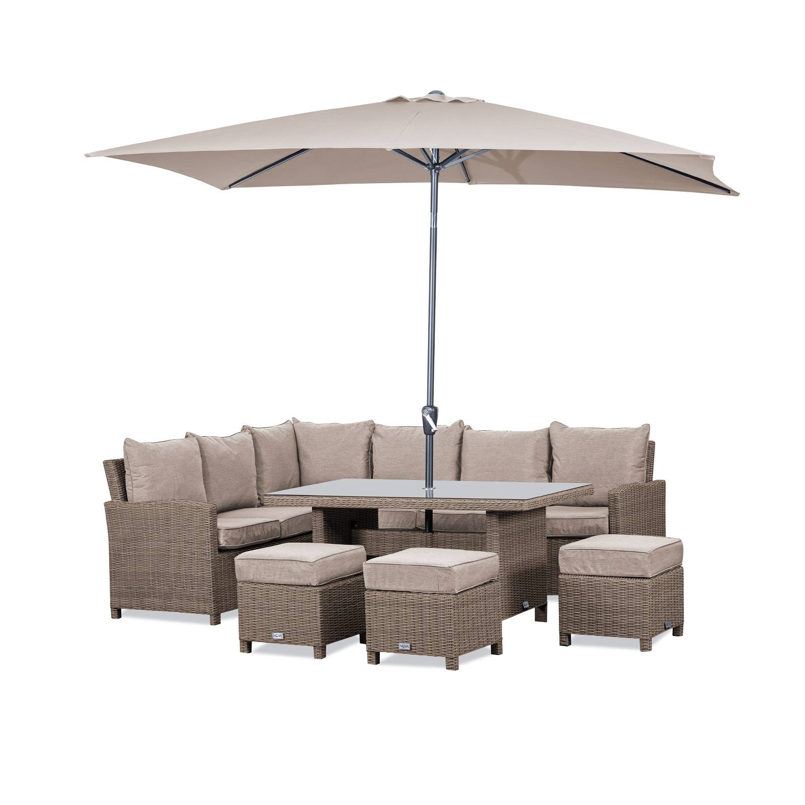 Oakworld Alfresco Heritage Ciara Corner Dining Set with Parasol Hole Table   Left Hand   Willow
