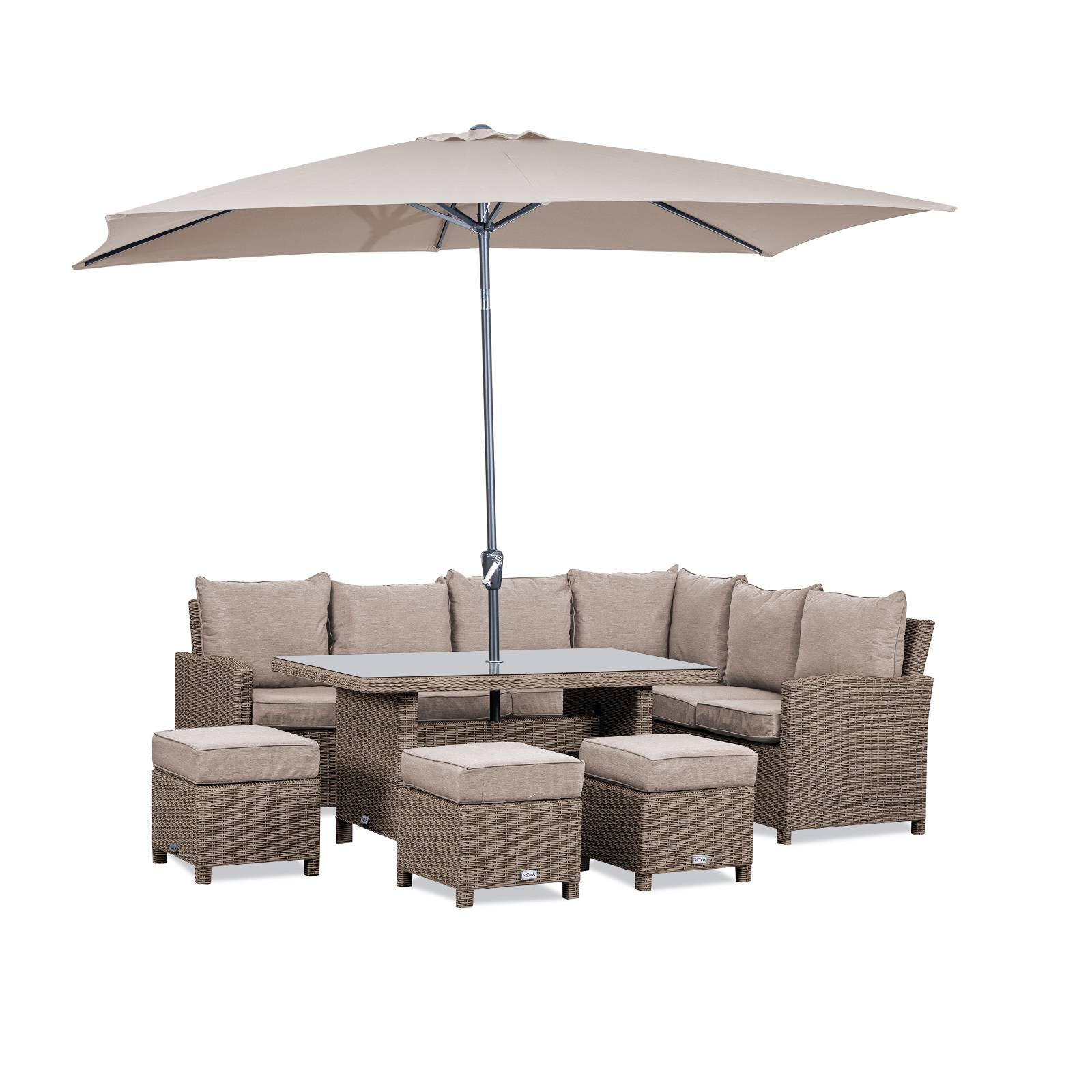 Oakworld Alfresco Heritage Ciara Corner Dining Set with Parasol Hole Table   Right Hand   Willow