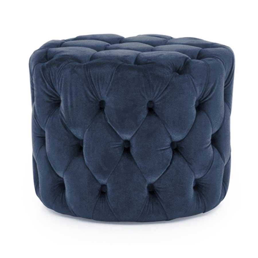Soft Furnishings Perkins Footstool   Velvet Midnight   Fully Assembled