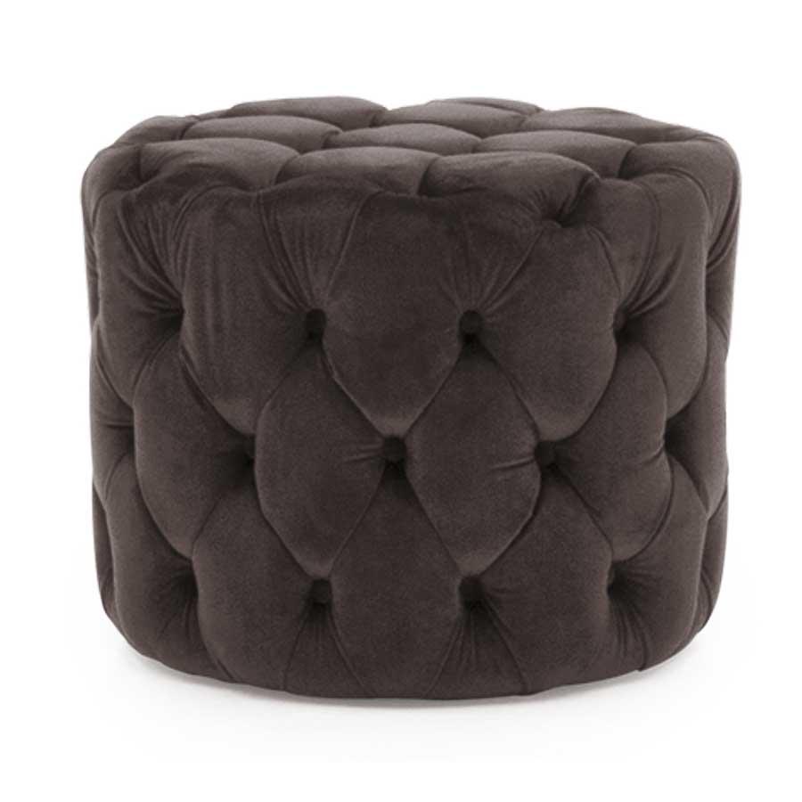 Soft Furnishings Perkins Footstool   Velvet Misty   Fully Assembled