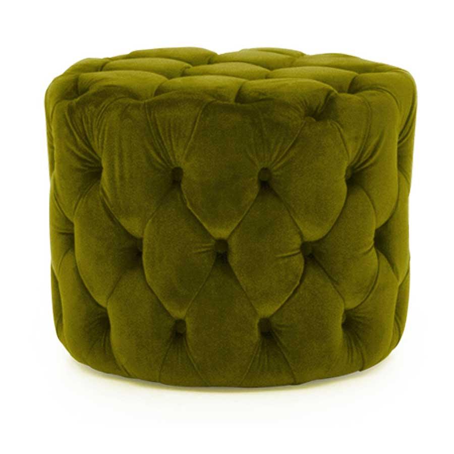 Soft Furnishings Perkins Footstool   Velvet Moss   Fully Assembled