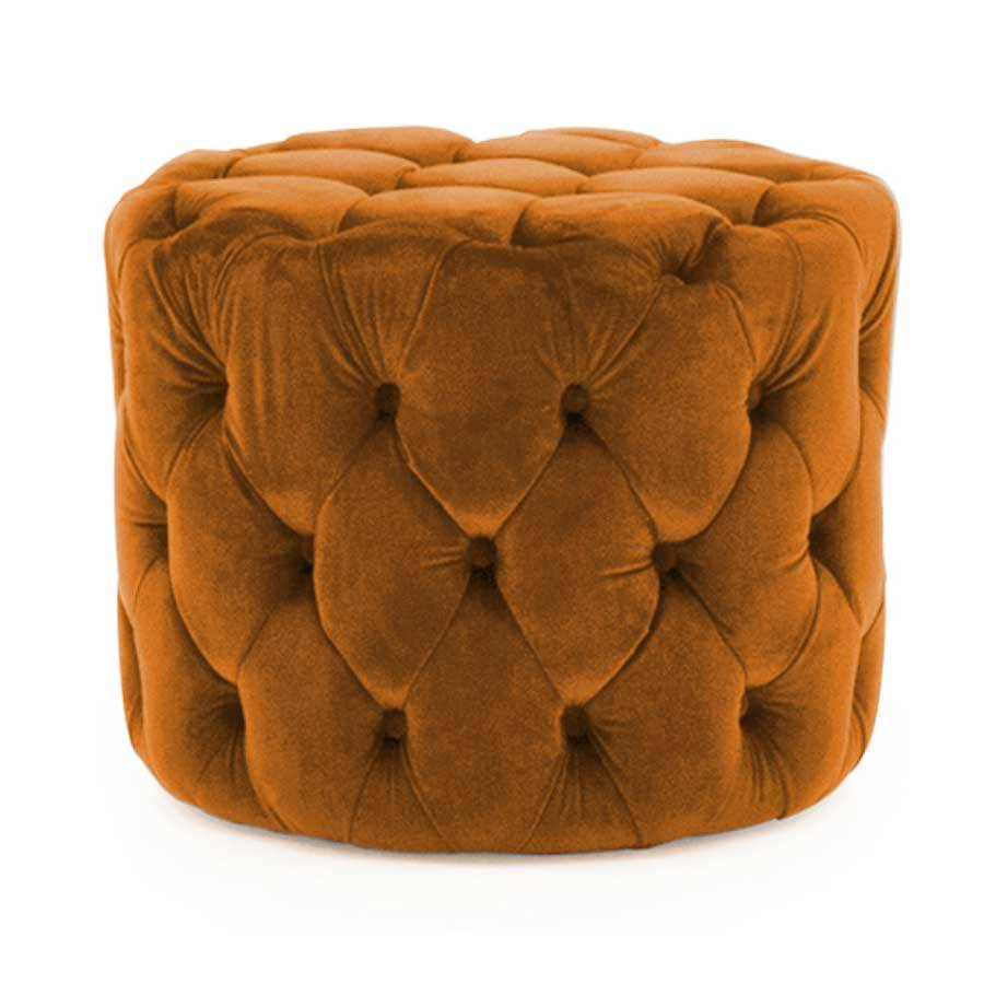 Soft Furnishings Perkins Footstool - Velvet Pumpkin   Fully Assembled