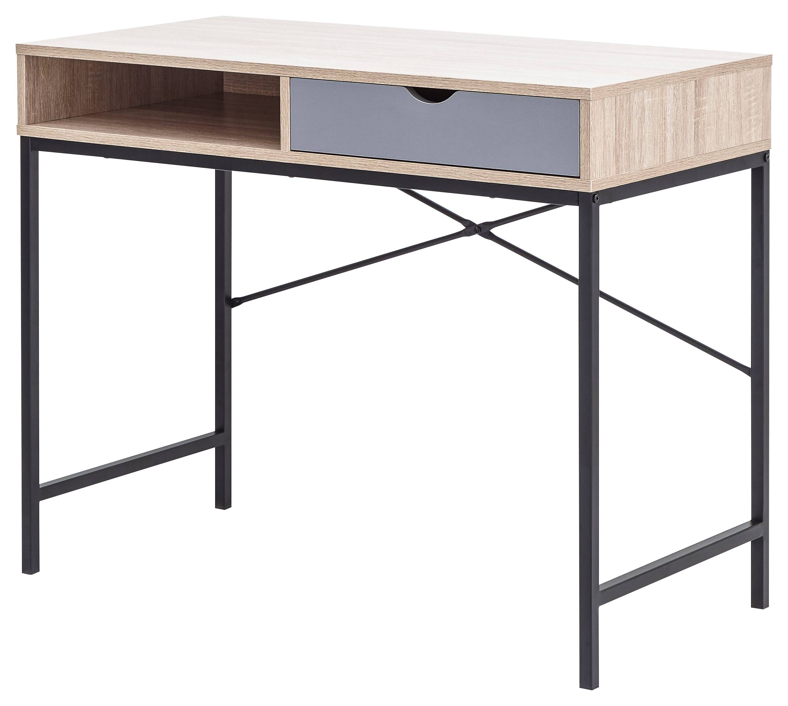 Chester Computer Desk   Light Oak    Grey   Self Assembly