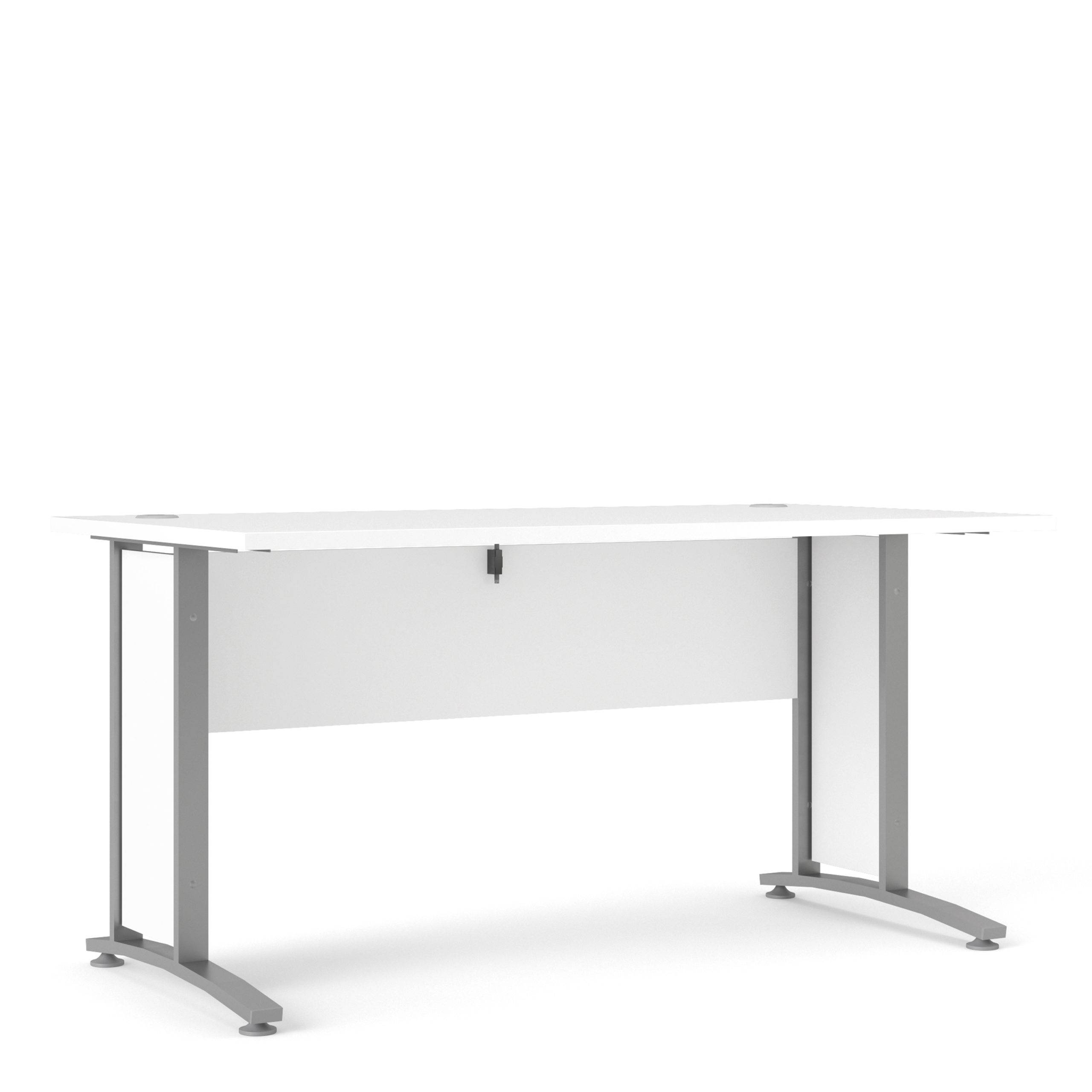 Kansas Desk 150cm in White with Silver Grey Steel Legs   Self Assembly