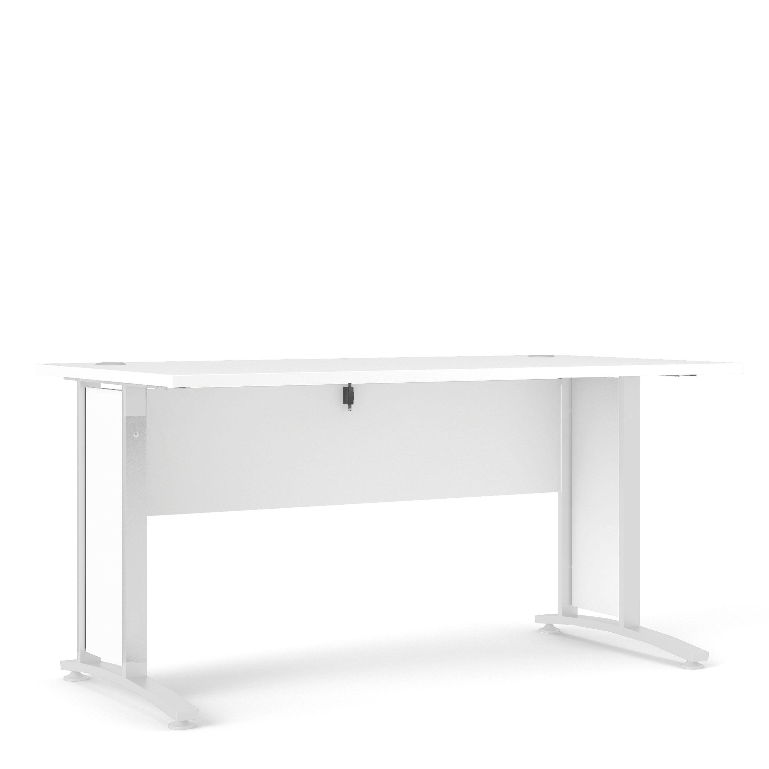 Kansas Desk 150 cm in White with White legs   Self Assembly