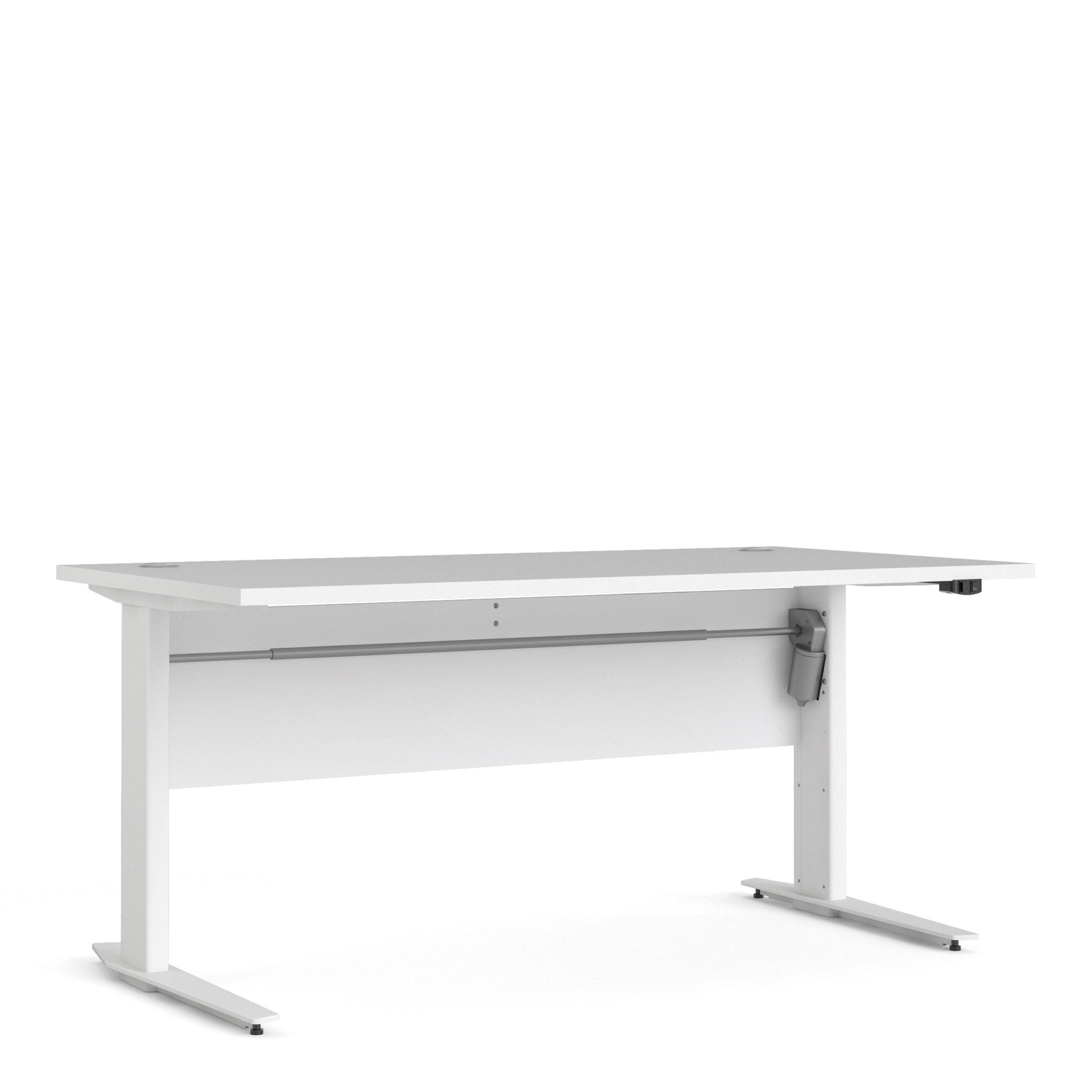 Kansas Desk 150 cm in White   Height Adjustable Legs   Electric Control   Self Assembly