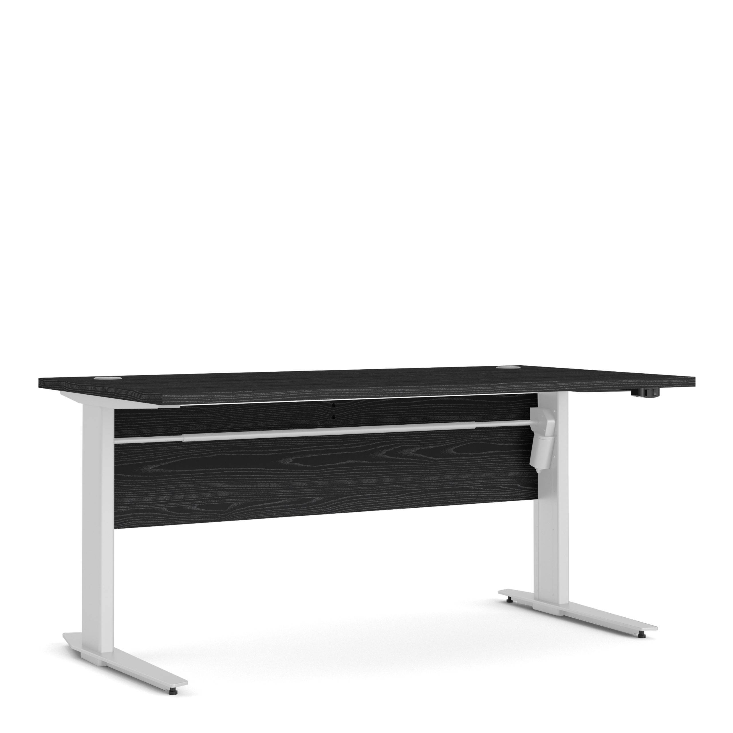 Kansas Desk 150 cm in Black Woodgrain   Height Adjustable Legs   Electric Control in White   Self Assembly