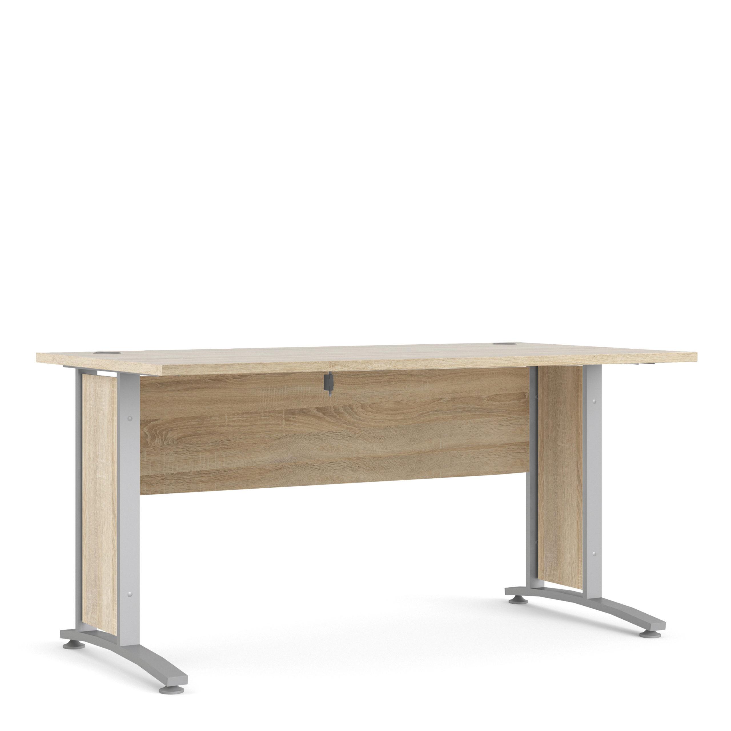 Kansas Desk 150 cm in Oak with Silver Grey Steel Legs   Self Assembly