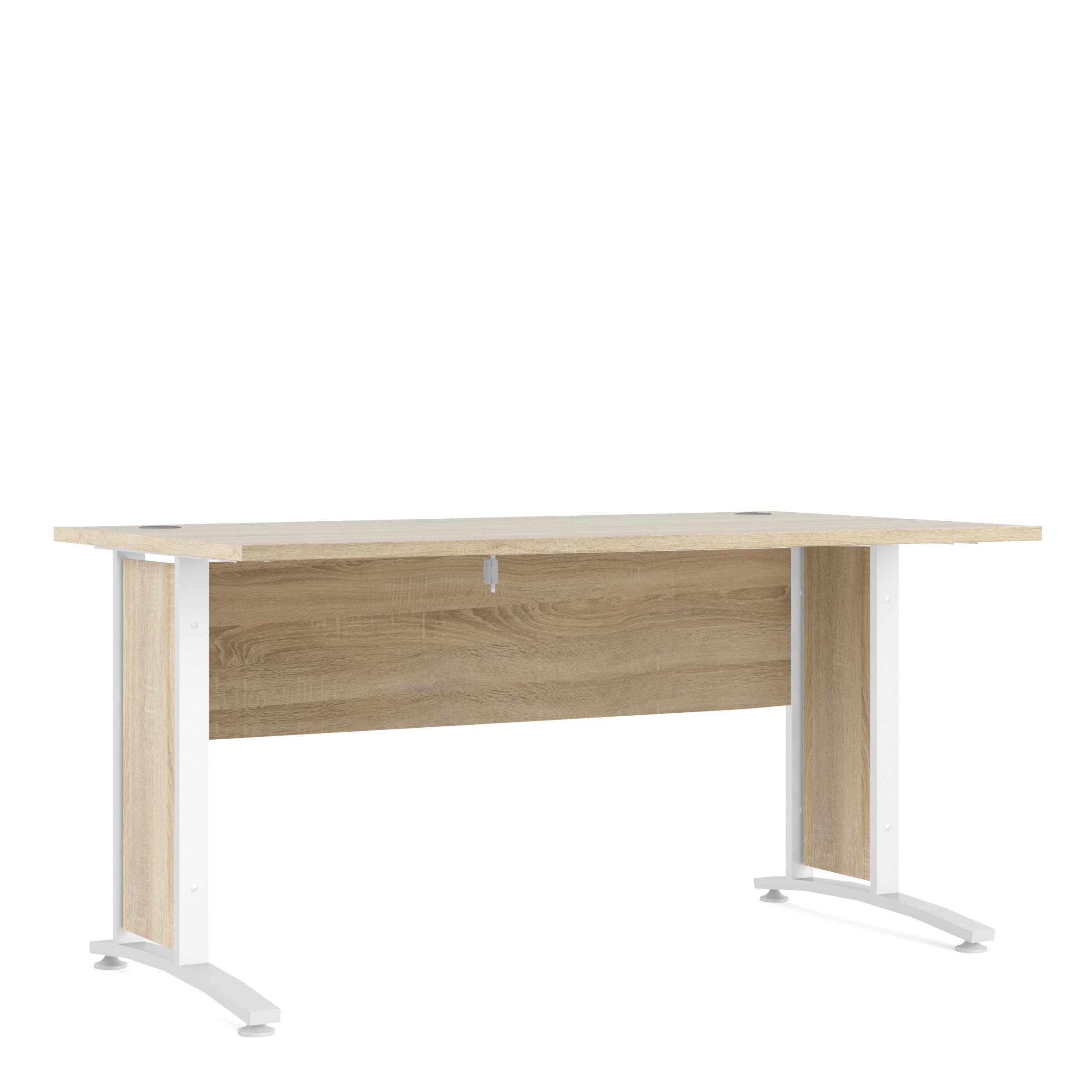 Kansas Desk 150 cm in Oak with White Legs   Self Assembly