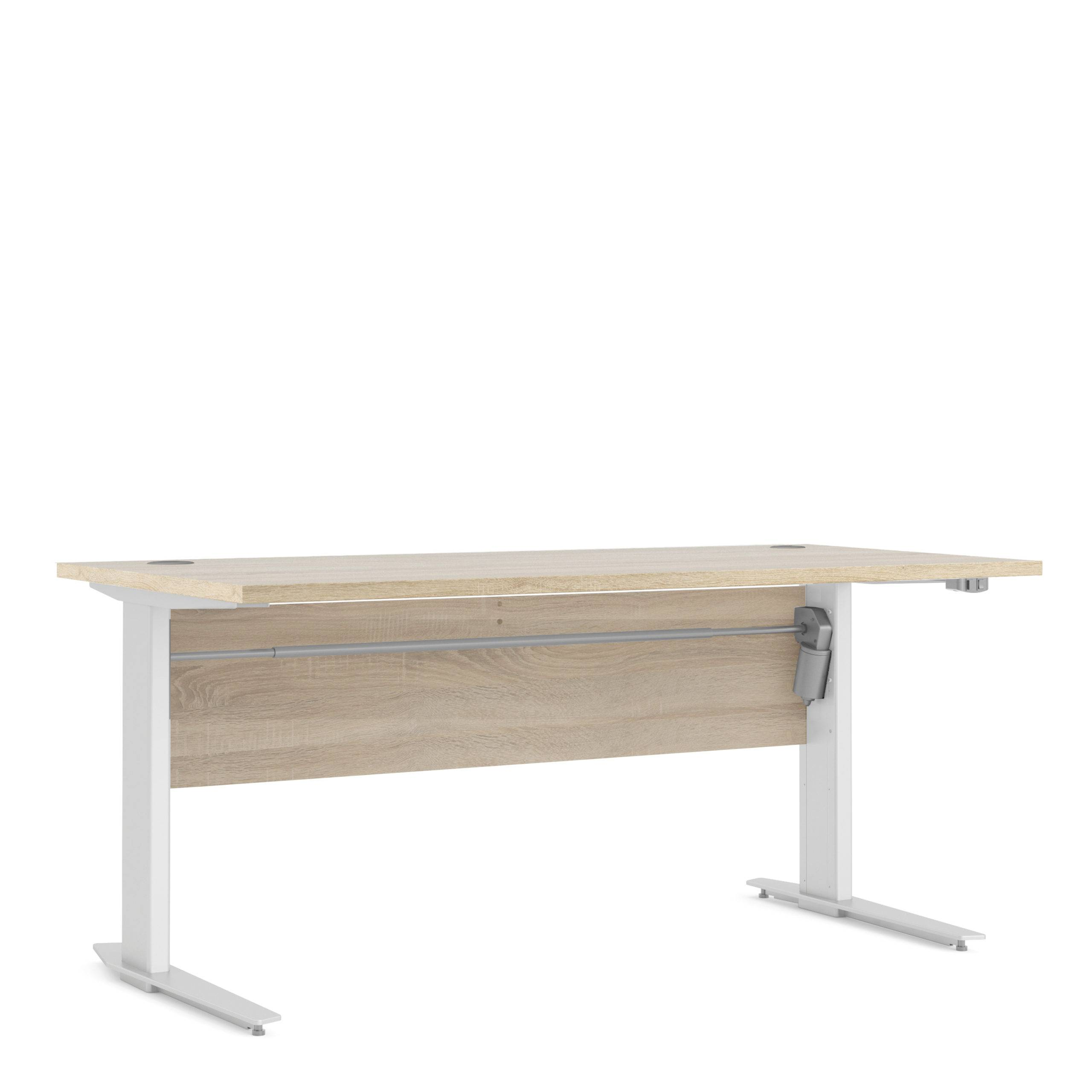 Kansas Desk 150 cm in Oak   Height Adjustable Legs   Electric Control in White   Self Assembly