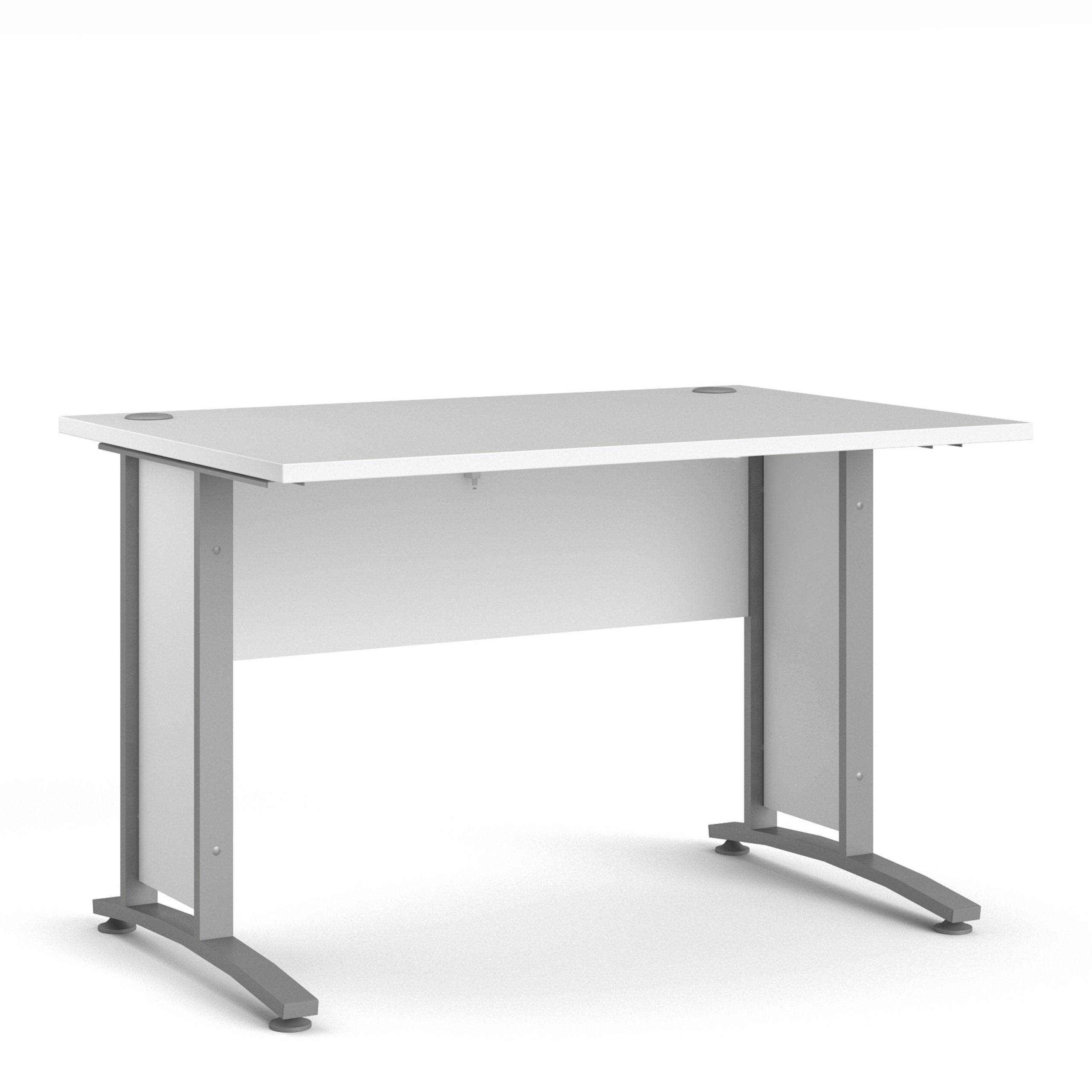 Kansas Desk 120 cm in White with Silver Grey Steel Legs   Self Assembly