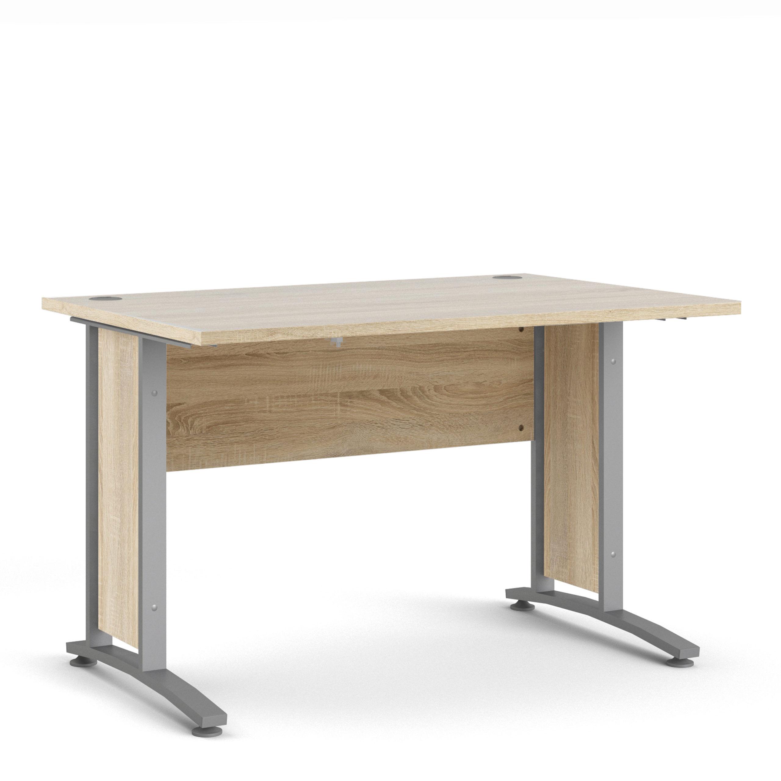 Kansas Desk 120 cm in Oak with Silver Grey Steel Legs   Self Assembly