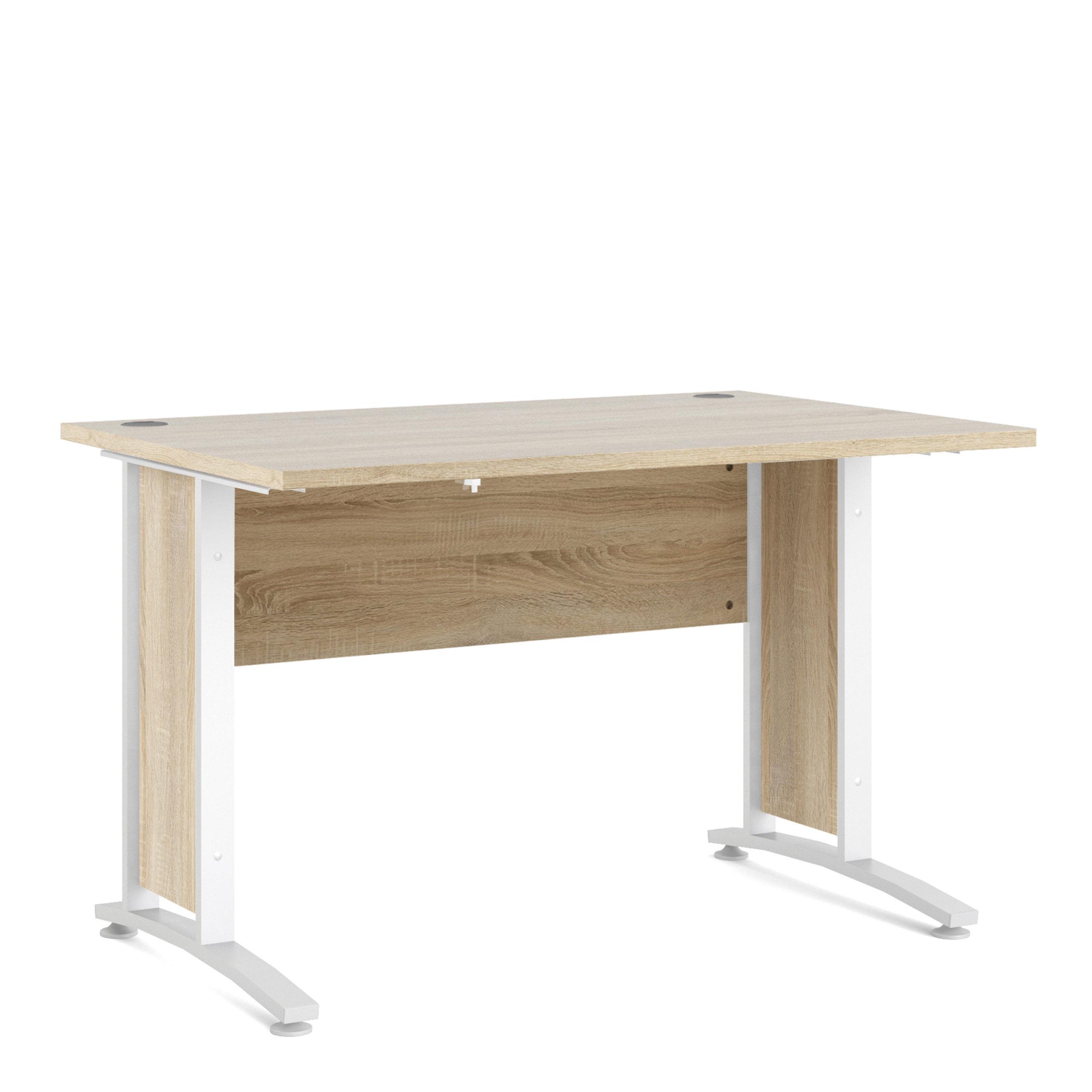 Kansas Desk 120 cm in Oak with White Legs   Self Assembly