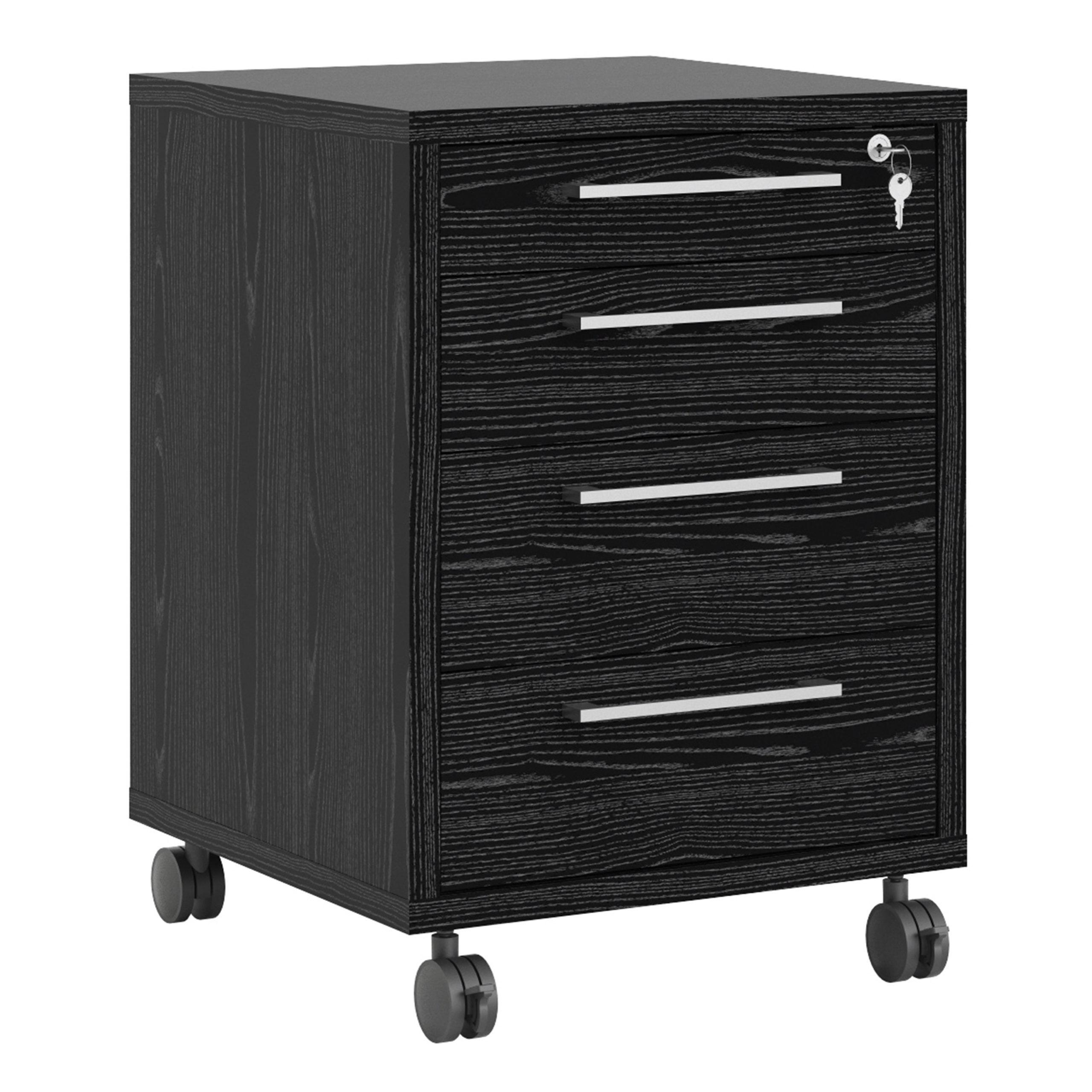 Kansas Mobile Cabinet in Black Woodgrain   Self Assembly