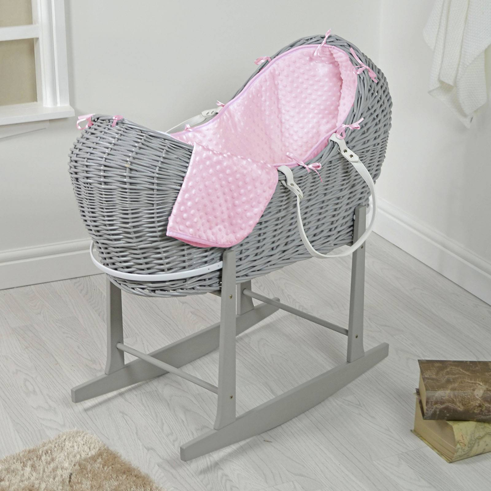 4 baby 4baby Grey Wicker Snooze Pod & Rocking Stand - Pink Dimple