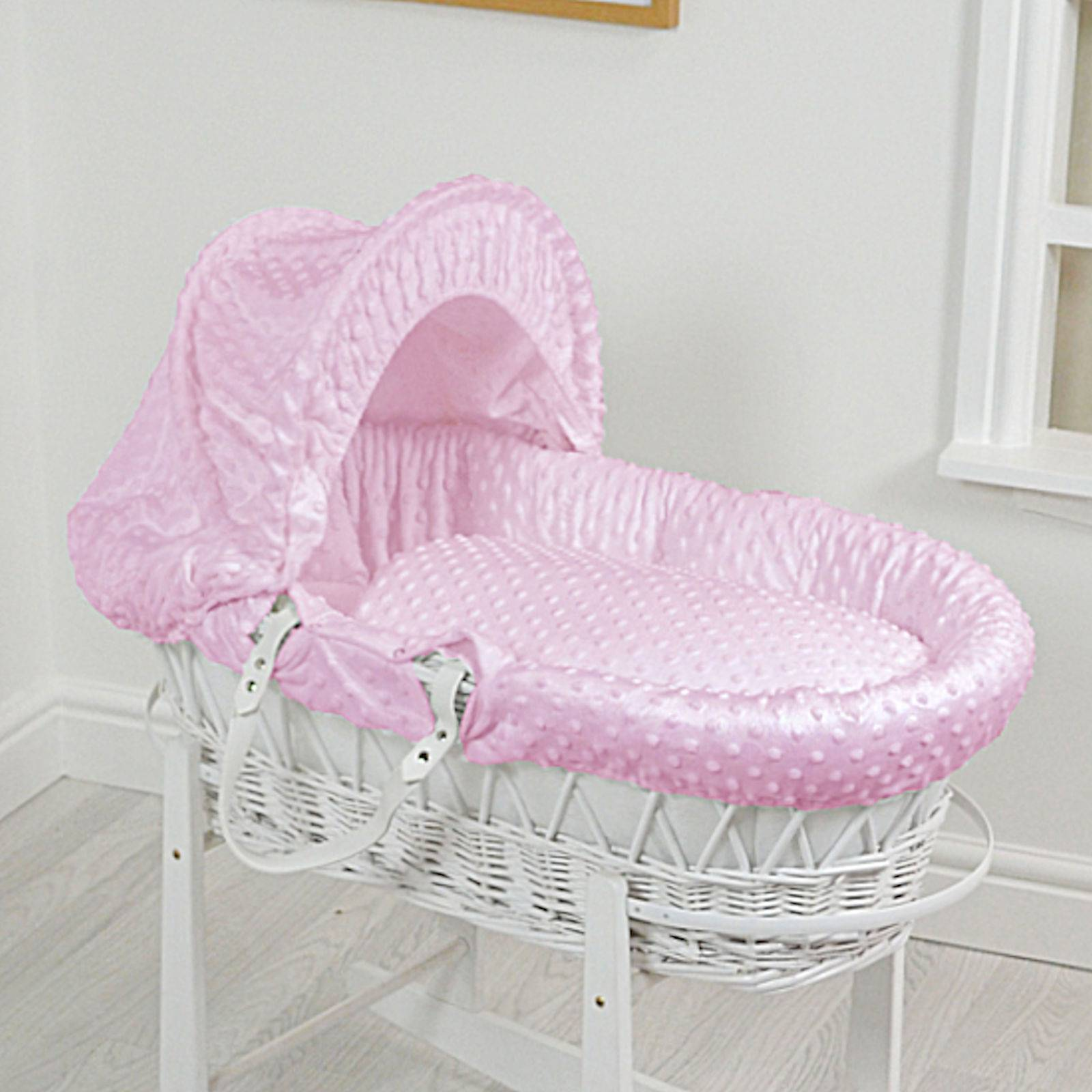 4 baby 4Baby Luxury Padded White Wicker Baby Moses Basket - Pink Dimple