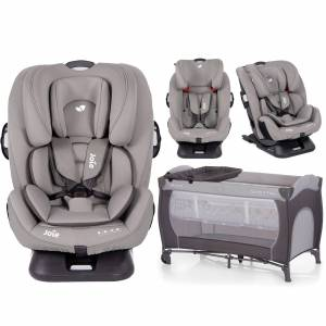 Joie Every Stage FX ISOFIX Group 0+,1,2,3 Car Seat With Free Hauck Sleep n Play Center Travel Cot / Playpen - Grey Flannel / Stone