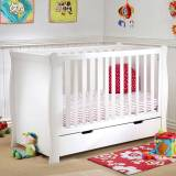 Puggle Sleigh Cot With Storage Drawer - White