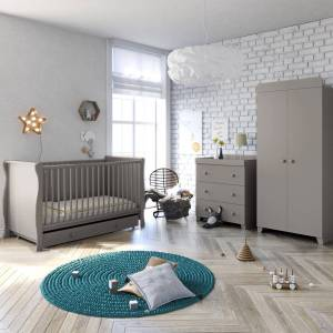 Little Acorns Sleigh Cot Bed 6 Piece Nursery Furniture Set With Deluxe 4inch Foam Mattress - Grey