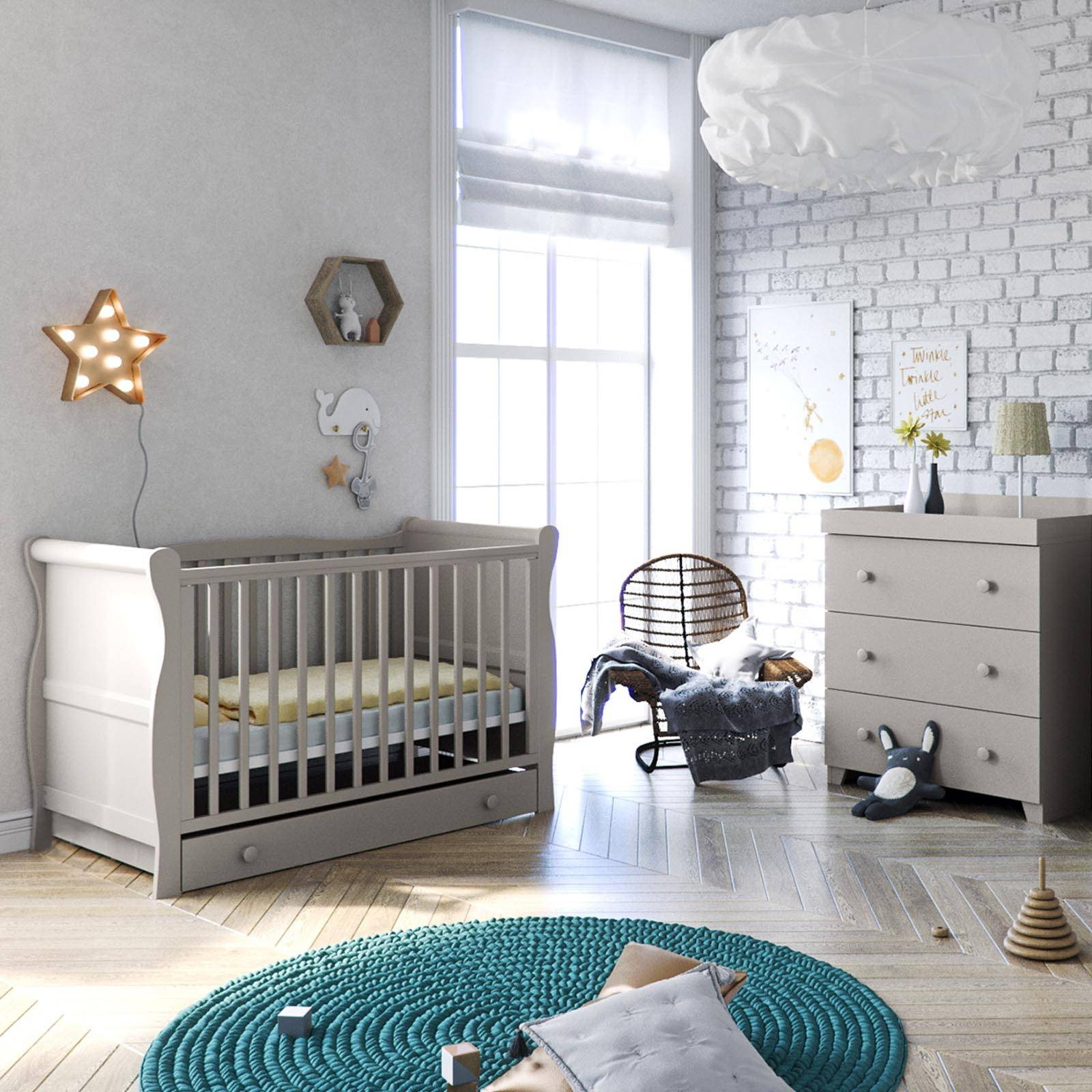 Little Acorns Sleigh Cot Bed 5 Piece Nursery Furniture Set With Deluxe 5inch Maxi Air Cool Mattress - Grey