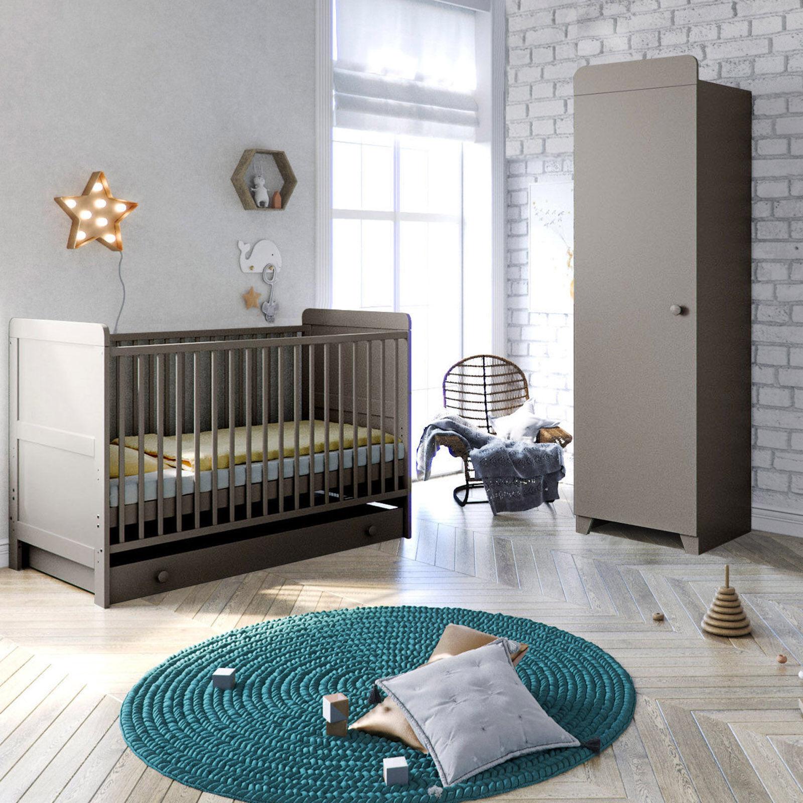 Little Acorns Classic Milano Cot Bed and Single Wardrobe - Light Grey