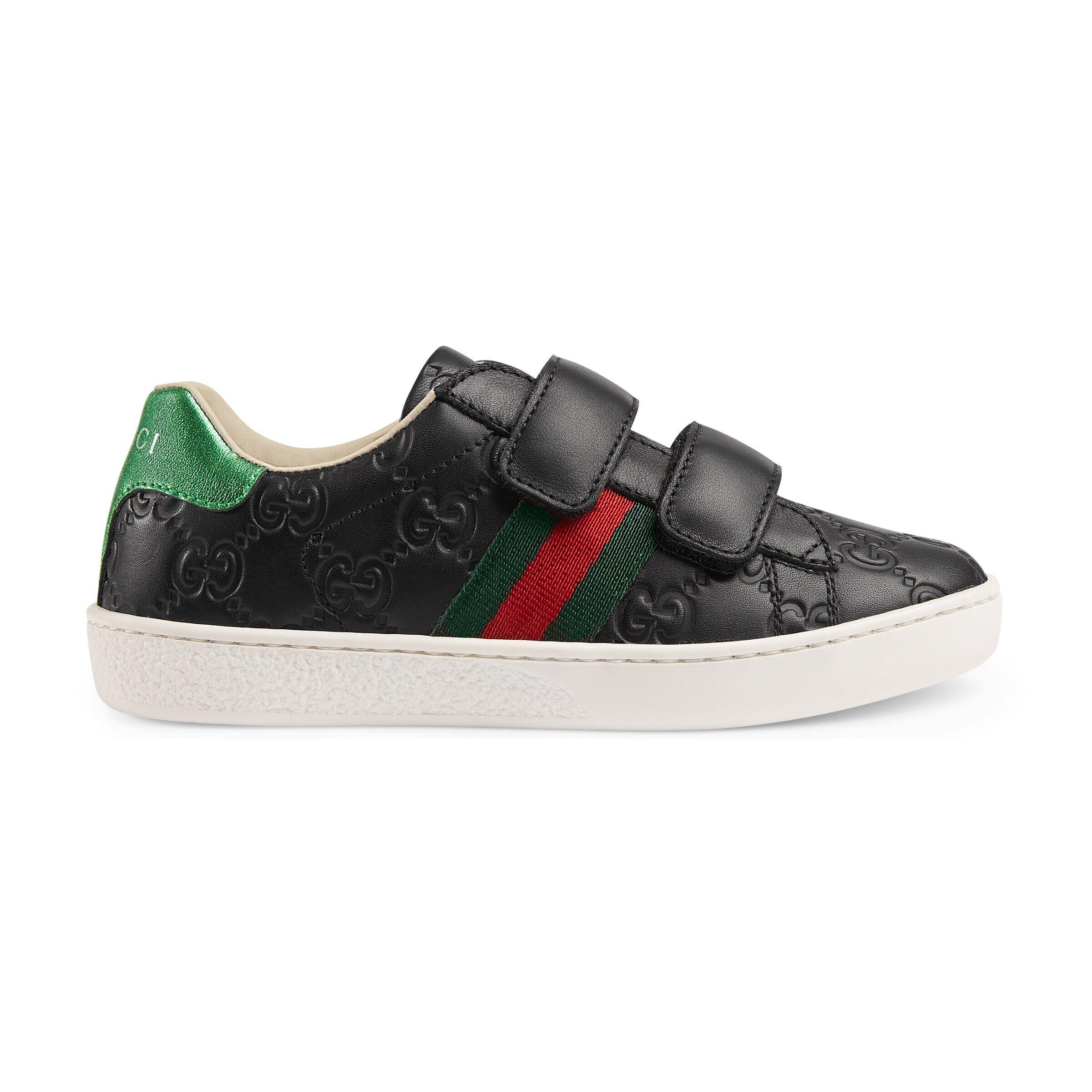 Gucci Children's Ace Gucci Signature sneaker  - Black