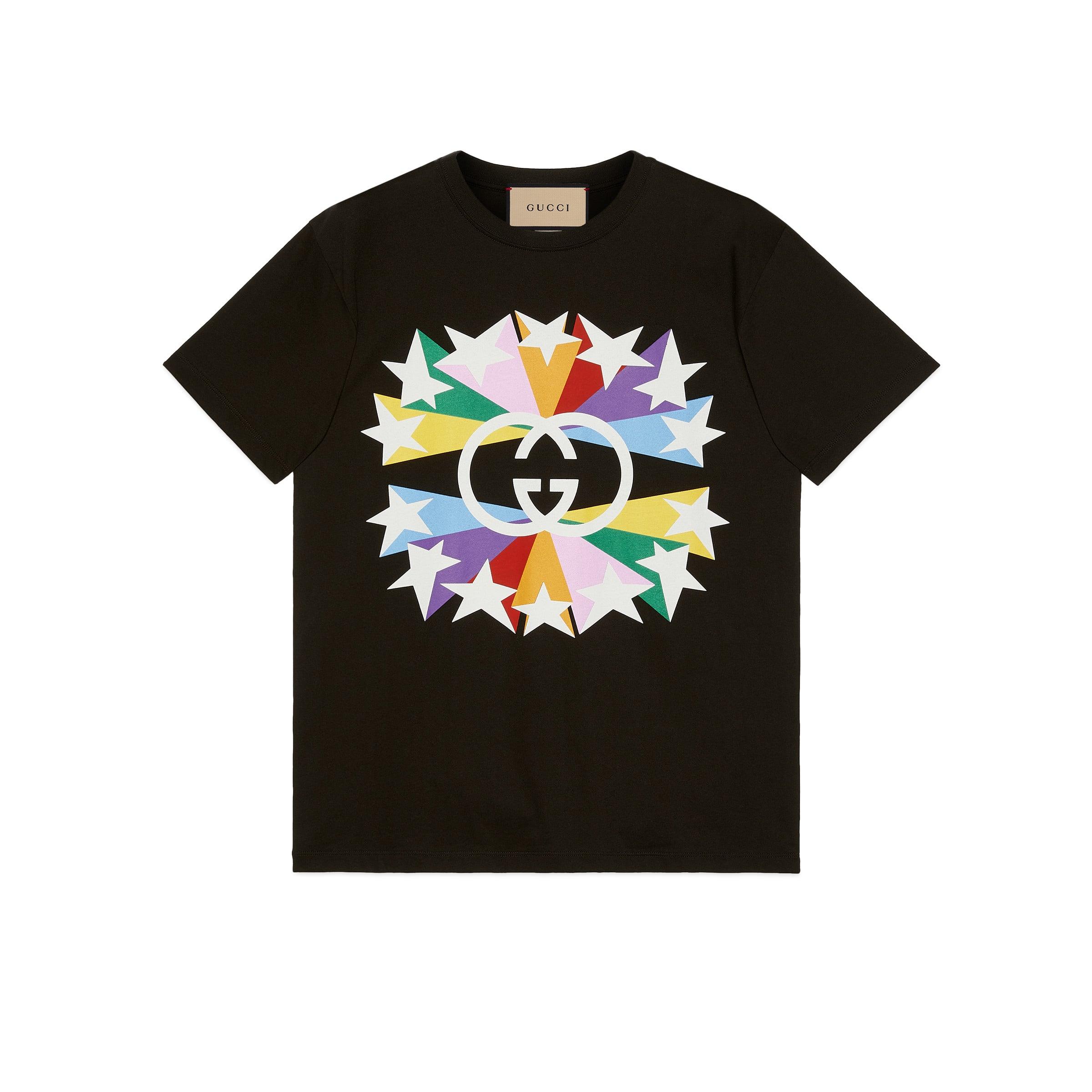 Gucci Men's Interlocking G star T-shirt  - Black