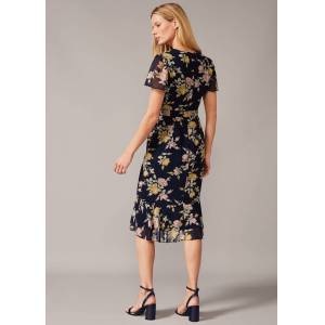 Phase Eight Melissa Floral Tea Dress, Blue, Fitted  - Navy/Multi - Size: 14