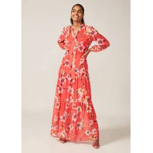 Phase Eight Bernadette Floral Chiffon Maxi Dress, Red, Maxi, Occasion Dress  - Sunset - Size: 16