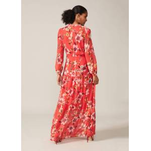 Phase Eight Bernadette Floral Chiffon Maxi Dress, Red, Maxi, Occasion Dress  - Sunset - Size: 14