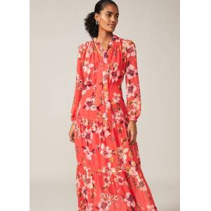 Phase Eight Bernadette Floral Chiffon Maxi Dress, Red, Maxi, Occasion Dress  - Sunset - Size: 12