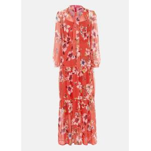 Phase Eight Bernadette Floral Chiffon Maxi Dress, Red, Maxi, Occasion Dress  - Sunset - Size: 20