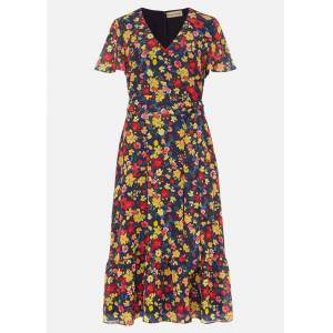 Phase Eight Ailee Floral Printed Dress, Pink, Floral, Occasion Dress  - Antique Rose/Black - Size: 20
