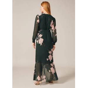 Phase Eight Kazumi Heritage Print Maxi Dress, Green, Maxi, Occasion Dress  - Forest/Pearl - Size: 20