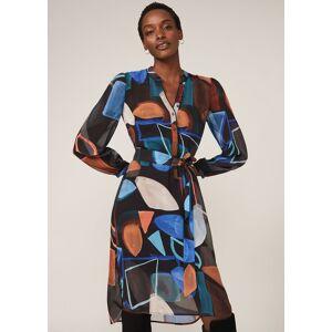 Phase Eight Nemi Shapes Chiffon Dress, Blue, Shirt  - Blues/Orange - Size: 14