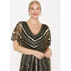 Studio 8 Plus Size Avalon Beaded Maxi Dress, Black, Maxi Dress, Occasion Dress  - Black/Gold - Size: 24