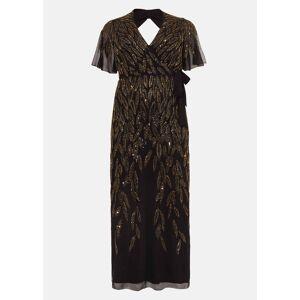 Studio 8 Hermosa Beaded Maxi Dress, Black, Maxi, Occasion Dress  - Black/Gold - Size: 24