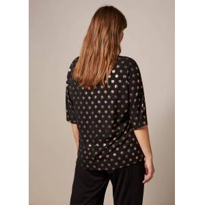 Studio 8 Maxine Foil Spot Top, Black, Tops  - Black/Rose Gold - Size: 24
