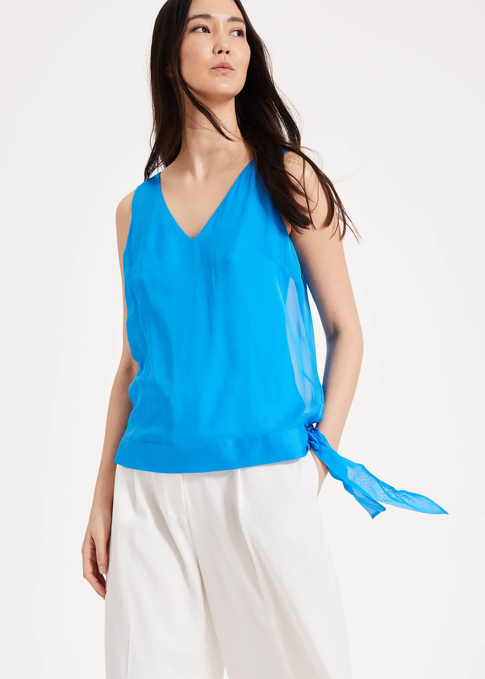 Phase Eight Eilian Silk Blouse, Blue, Blouse  - Blue - Size: 08