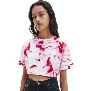 Calvin Klein Cerise Marble Print Organic Cotton Women's T-Shirt  - Multi - Size: M