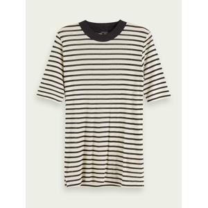 Scotch & Soda Striped short sleeve TENCEL™ t-shirt  - Beige - Size: Extra Small