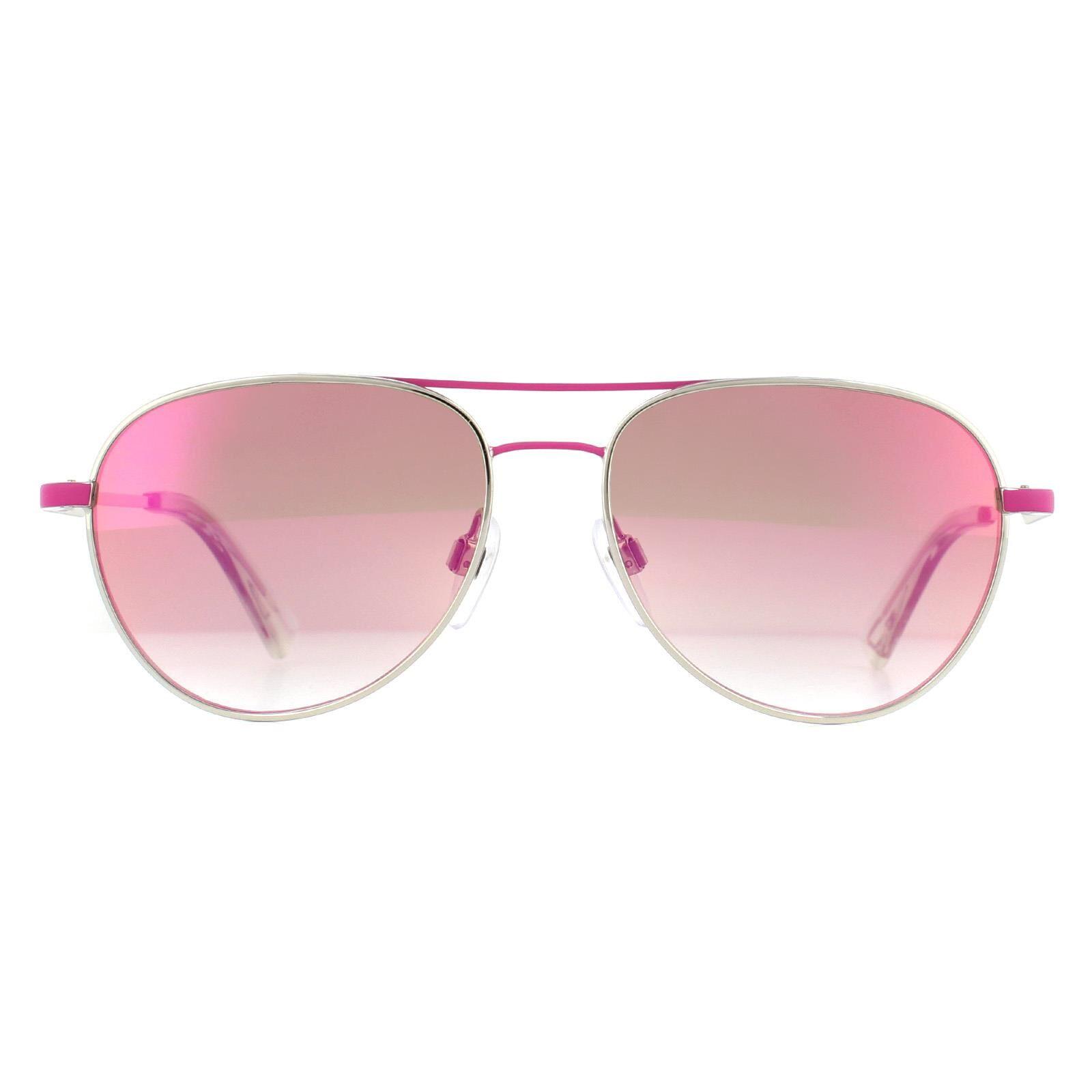 Diesel Sunglasses DL0291 77U Silver Fuschia Bordeaux Mirror