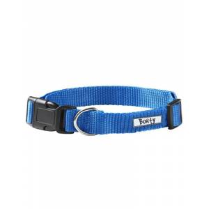 Bunty Pet Products Adjustable Soft Fabric Dog Puppy Collar with Buckle and Clip for Lead, Blue / Large