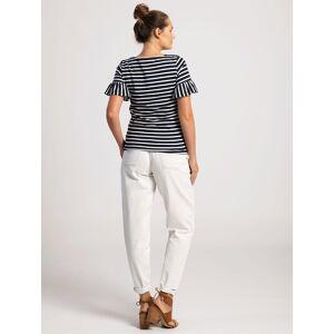 Pentlebay Womens Frill Sleeve Tee (Blue / white stripe, Size 10)