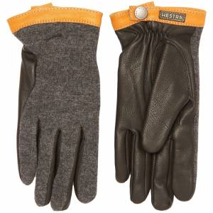 Hestra Charcoal Deerskin Wool Tricot Gloves 20450-390100 Colour: CHARC  - male - Size: UK 8