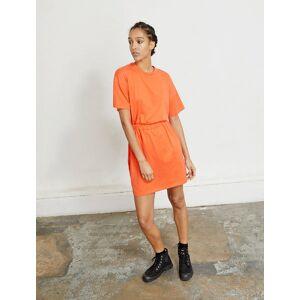 Ninetypercent Organic cotton open back T-dress  - Hot Orange - Size: Extra Small