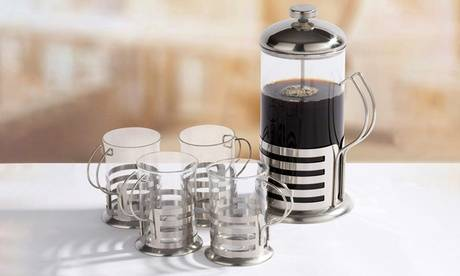 Groupon Goods Global GmbH French Press Steel Cafetiere Set