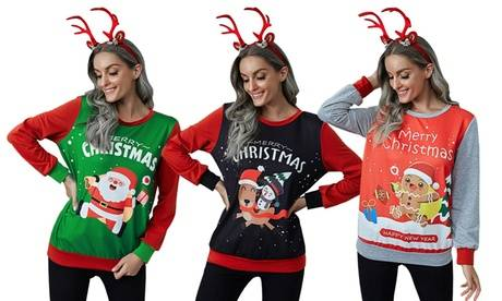 Groupon Goods Global GmbH Women's Colourful Merry Christmas Jumper