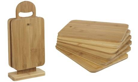 Groupon Goods Global GmbH One or Two Six-Piece Bamboo Chopping Board Sets with Stand
